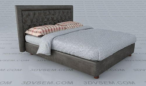 Pochette Modern Double Bed 3D Model
