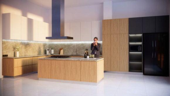 Realistic Big Kitchen Design Interior Scene 3D Model