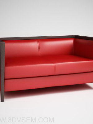 Red Double Sofa 3D Model