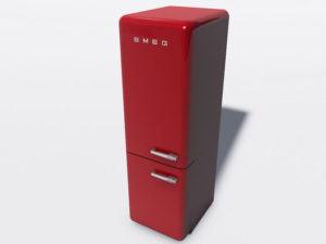Red Refrigerator Freezer 3D Model