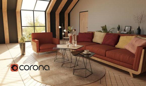 Roof Living Room Design 3D Interior Scene