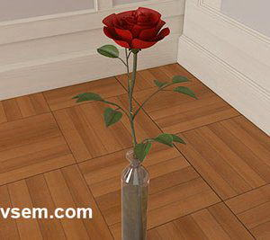Rose with Glass Bottle 3D Model