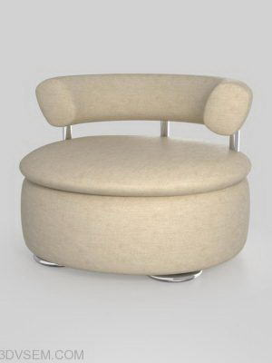 Round Soft Armchair 3D Model
