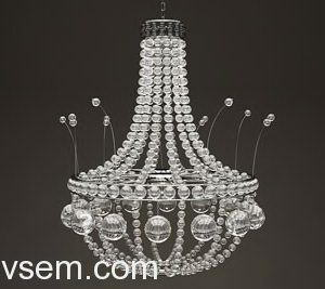 Rounded Crystal Chandelier 3D Model