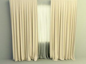 Simple Curtain With Dropes 3D Model