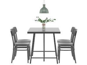 Simple Wooden Dining Set 3D Model