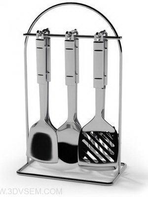 Steel Kitchen Appliances 3D Model