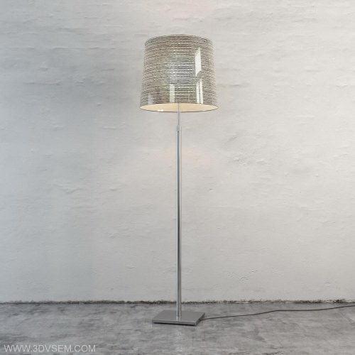 Striped Shade Floor Light 3D Model - C4D Download