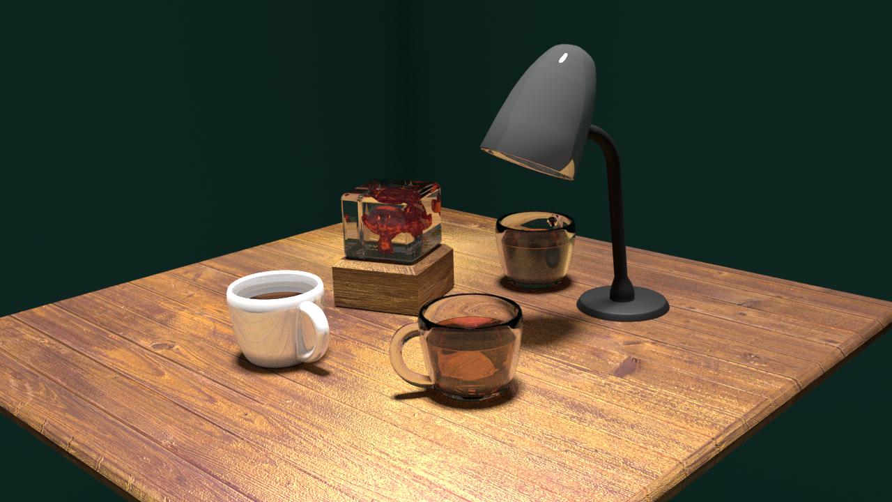 Free Obj Table Scene 3D Model