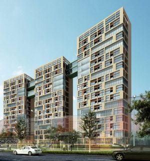 Triple building Exterior 3D Model