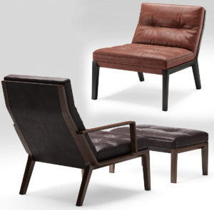 Two Types Leather Armchair 3D Model
