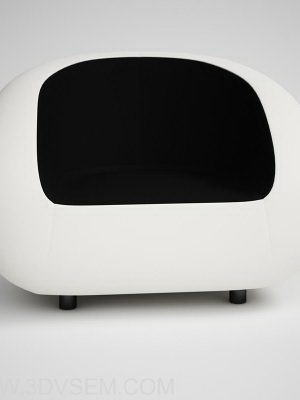 White-Black Soft Armchair 3D Model