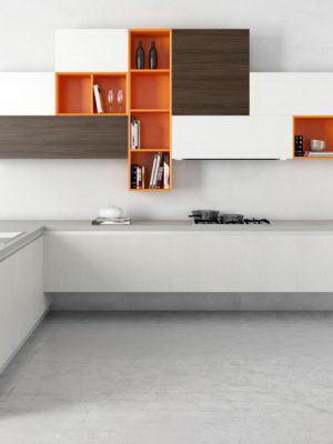 White-Orange Kitchen Design 3D Model