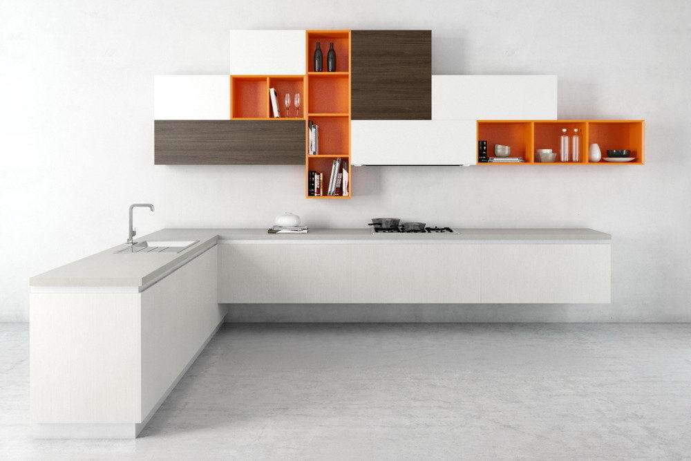 White-Orange Kitchen Design 3D Model
