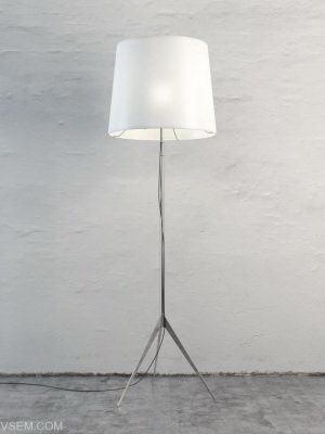 White Shade Floor Light 3D Model