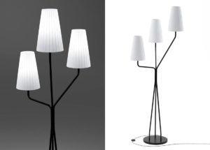White Triple Floor Light 3D Model