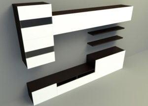 White Tv Station 3D Panel