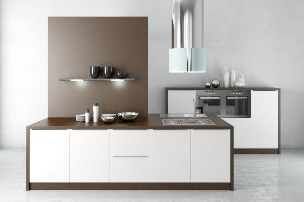 White and Wood Kitchen Design 3D Model