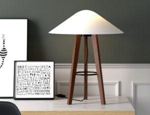Wood Leg Table Lamp 3D Model