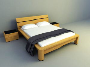 Wood Modern Bed 3D Model