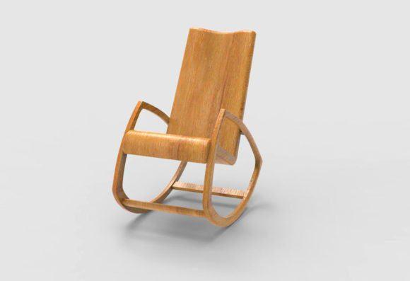 Wood Rocking Chair Free 3D Model