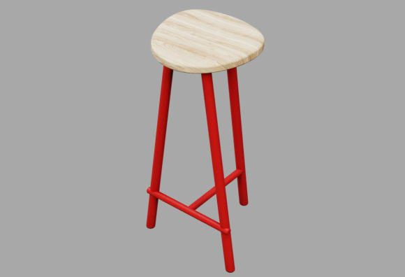 Wood Top Stool 3D Model