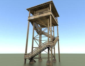 Wood Watch Tower 3D Model