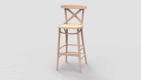Wooden Bar Stool Free 3D Model