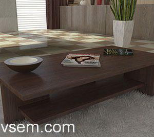 Wooden Base Coffee Table 3D Model