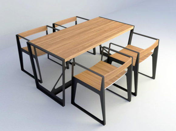 Wooden Dining Set Free 3D Model
