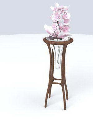 Wooden Frame Glass Vase 3D Model