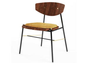 Wooden and Metal Base Chair 3D Model