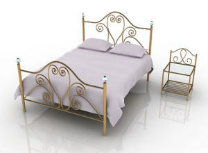Wrought Iron Double Bed 3D Model