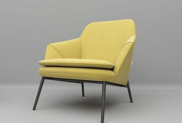 Yellow Texture Armchair 3D Model