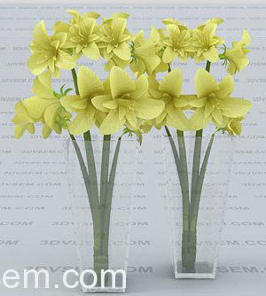 Yellow flower with glass vase 3d model